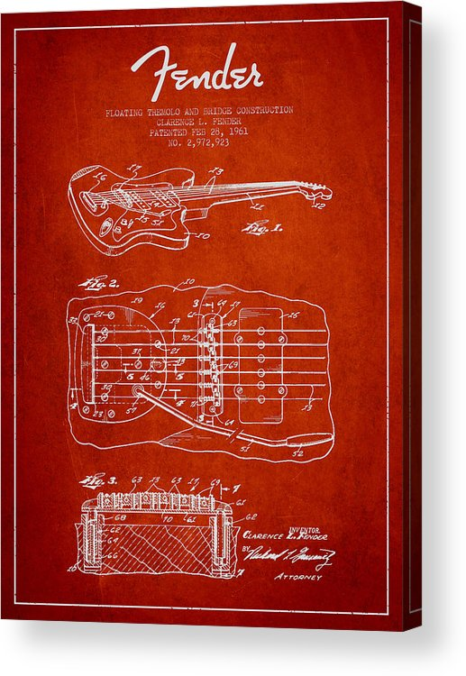 Fender Acrylic Print featuring the digital art Fender Floating Tremolo Patent Drawing From 1961 - Red by Aged Pixel