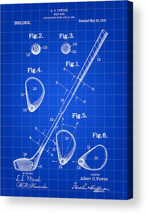 Golf Acrylic Print featuring the digital art Golf Club Patent 1909 - Blue by Stephen Younts