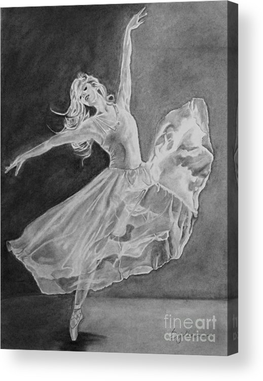 Ballet Acrylic Print featuring the drawing Shadow Dancer by Sandra Presley