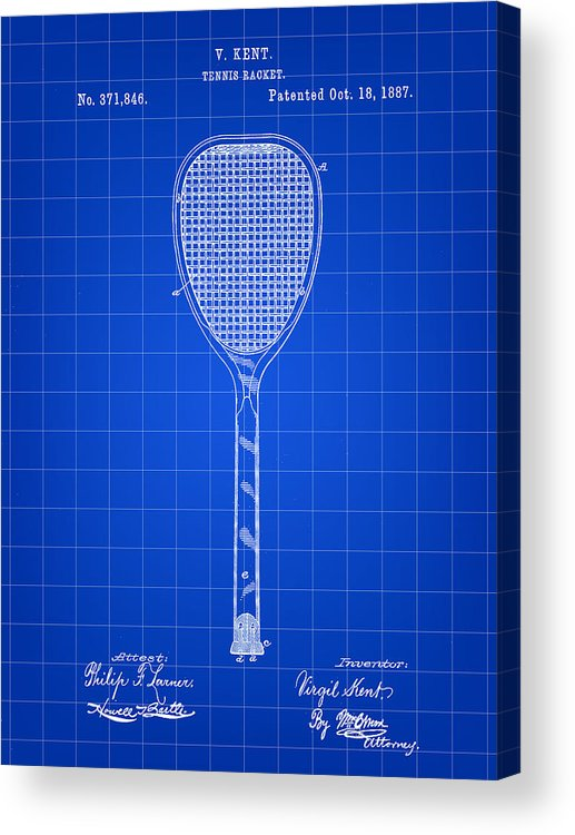 Tennis Acrylic Print featuring the digital art Tennis Racket Patent 1887 - Blue by Stephen Younts