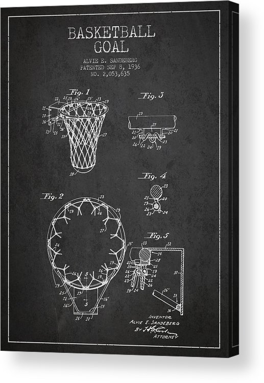 Hoop Patent Acrylic Print featuring the drawing Vintage Basketball Goal Patent From 1936 by Aged Pixel