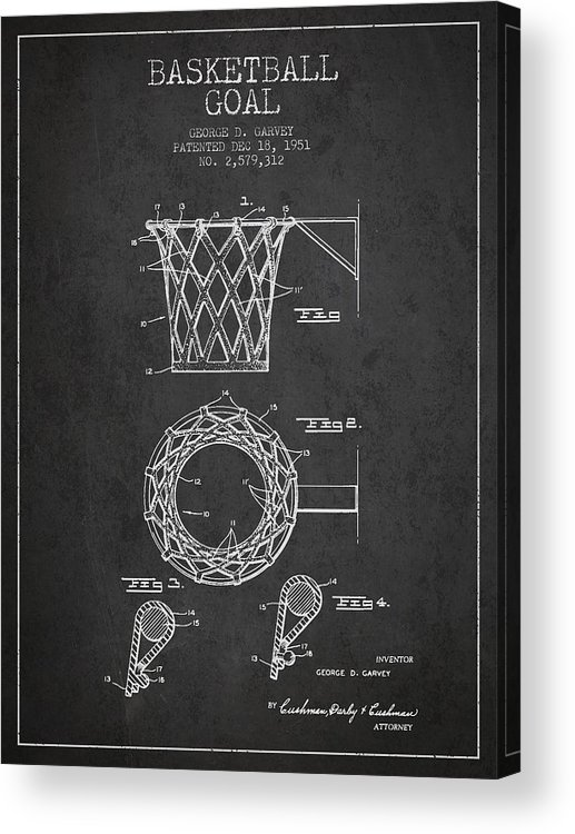 Hoop Patent Acrylic Print featuring the drawing Vintage Basketball Goal Patent From 1951 by Aged Pixel