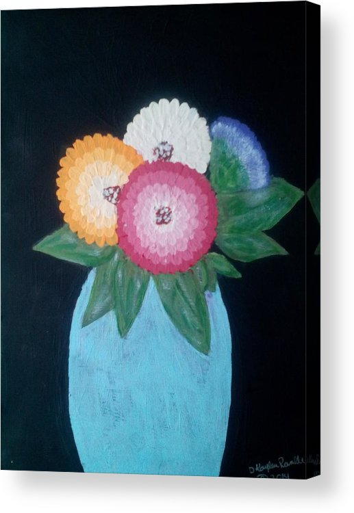 Flowers Acrylic Print featuring the painting Zinnias by Dawn Randle