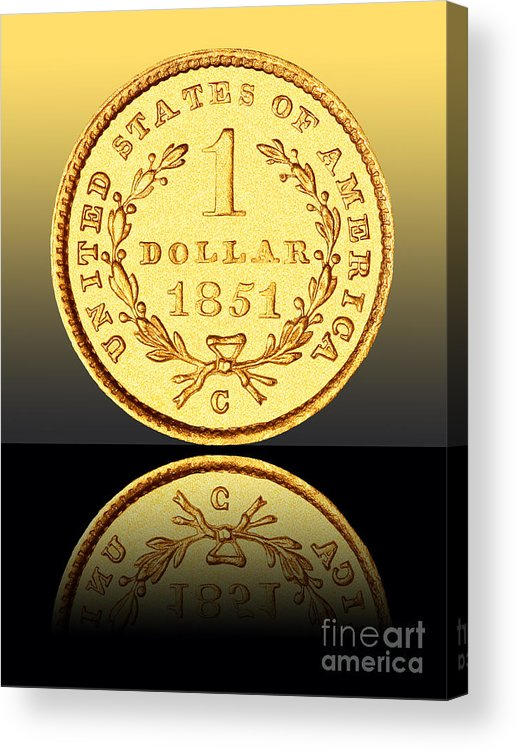 Coin Acrylic Print featuring the photograph 1851 1 Dollar Rare Charlotte Gold by Jim Carrell