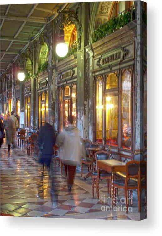 Venice Acrylic Print featuring the photograph Caffe Florian Arcade by Heiko Koehrer-Wagner
