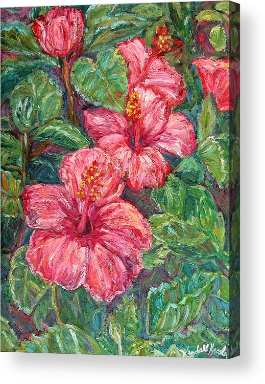 Hibiscus Acrylic Print featuring the painting Hibiscus by Kendall Kessler