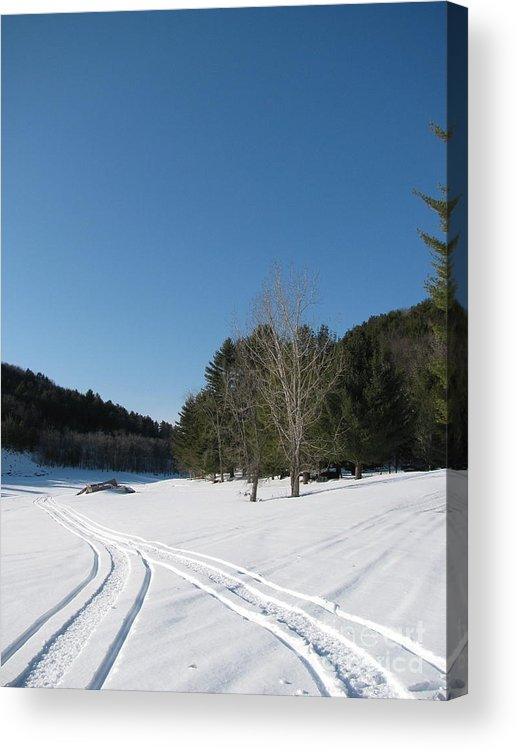 Snow Acrylic Print featuring the photograph Snowmobile Tracks by Nancie Johnson