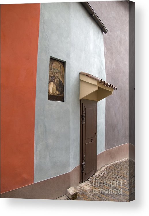 Prague Acrylic Print featuring the photograph The Brown Door by Ann Horn