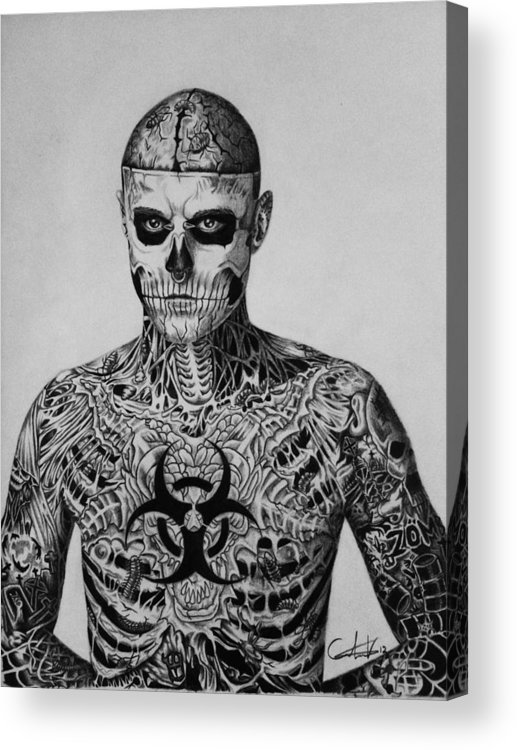 Rick Acrylic Print featuring the drawing Zombie Boy Rick Genest by Carlos Velasquez Art