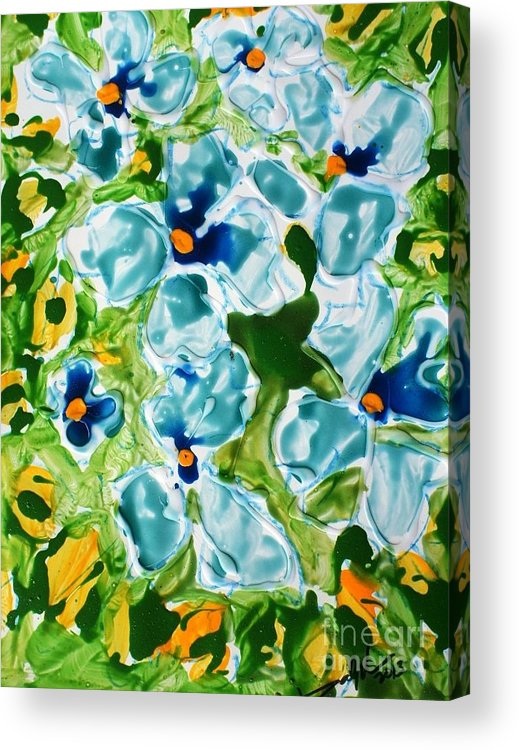 Flowersmy New Series   Zen Moksha Flowers/ Mann Flowers/miyoko Flowers• Each Work Tells A Story – Of Travels And Travails Acrylic Print featuring the painting Miyoko Flowers by Baljit Chadha