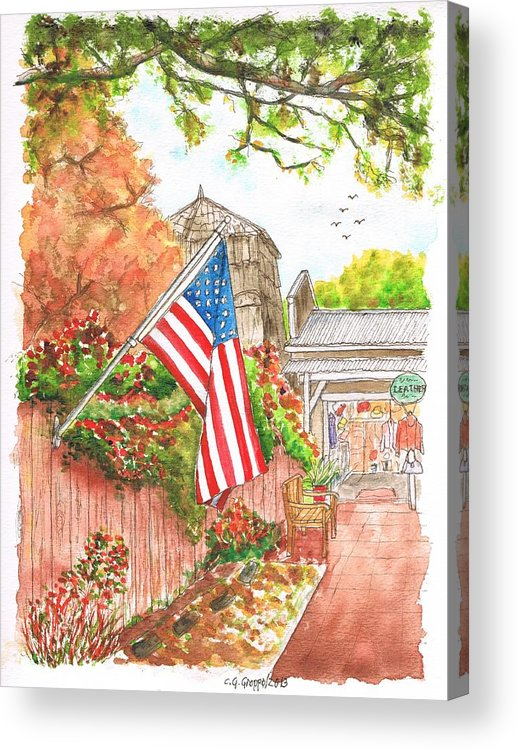Flag Acrylic Print featuring the painting 4th Of July In Los Olivos, California by Carlos G Groppa
