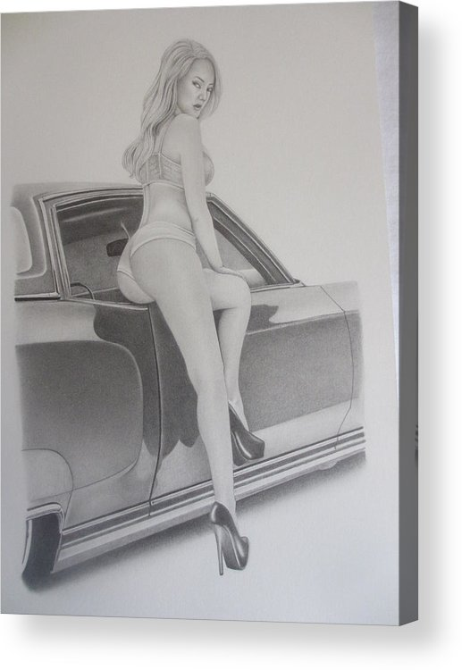 Acrylic Print featuring the drawing 72' Monte by Pete Garcia