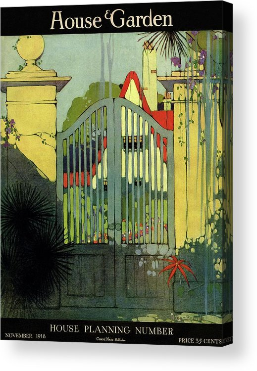 Illustration Acrylic Print featuring the photograph A House And Garden Cover Of A Gate by H. George Brandt
