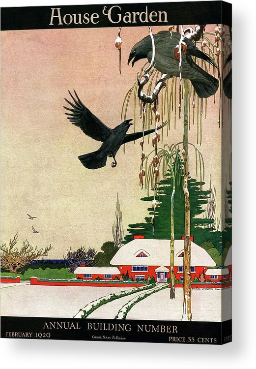 Illustration Acrylic Print featuring the photograph A House And Garden Cover Of Crows By A House by Charles Livingston Bull