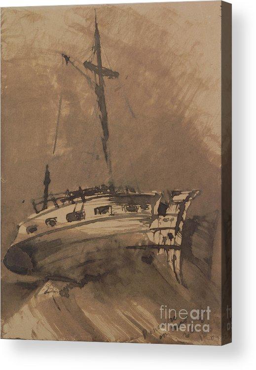 A Ship In Choppy Seas Acrylic Print featuring the painting A Ship In Choppy Seas by Victor Hugo