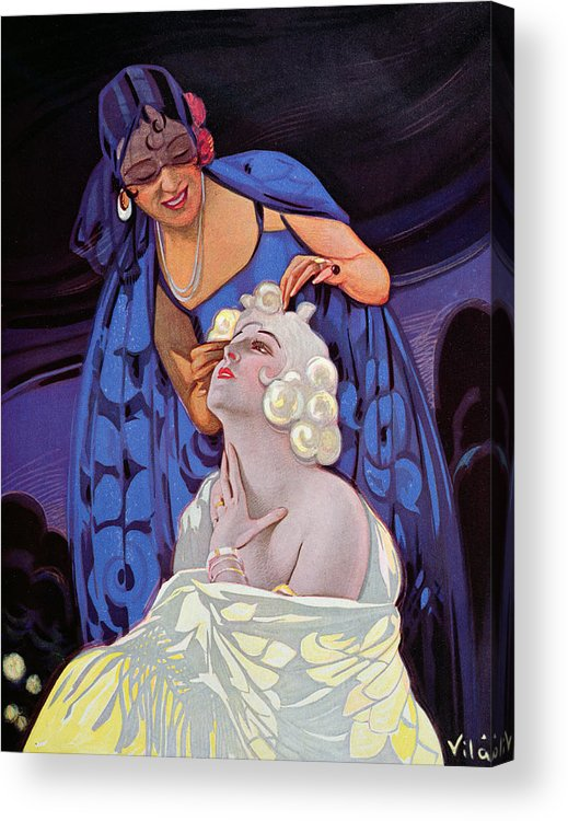 Hairstyle Acrylic Print featuring the painting A Spanish Hairdresser by Vila