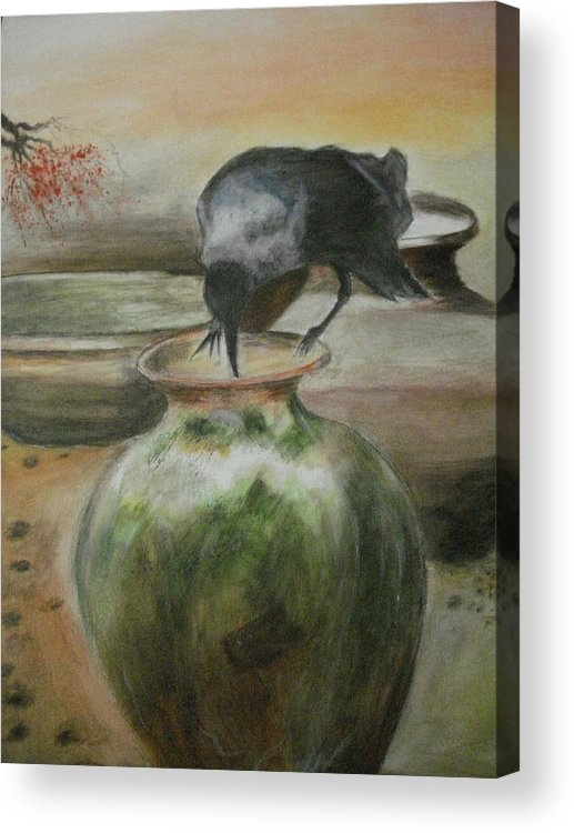 Water Jars Acrylic Print featuring the painting A Thirsty Crow by Prasenjit Dhar