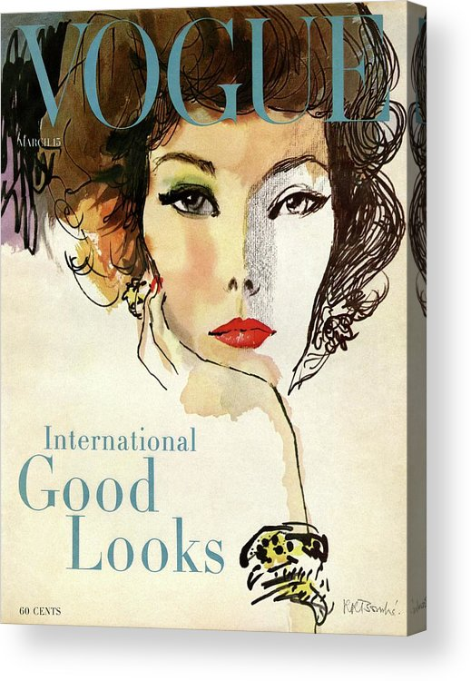 Illustration Acrylic Print featuring the photograph A Vogue Cover Illustration Of Nina De Voe by Rene R Bouche