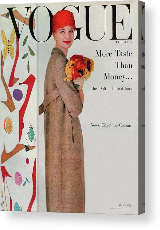 Fashion Acrylic Print featuring the photograph A Vogue Cover Of Sunny Harnett With Flowers by Karen Radkai