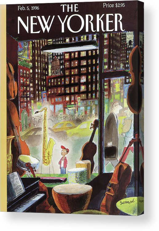 The Boy Who Wanted To Be President Acrylic Print featuring the painting A Young Boy Admires A Saxophone by Jean-Jacques Sempe