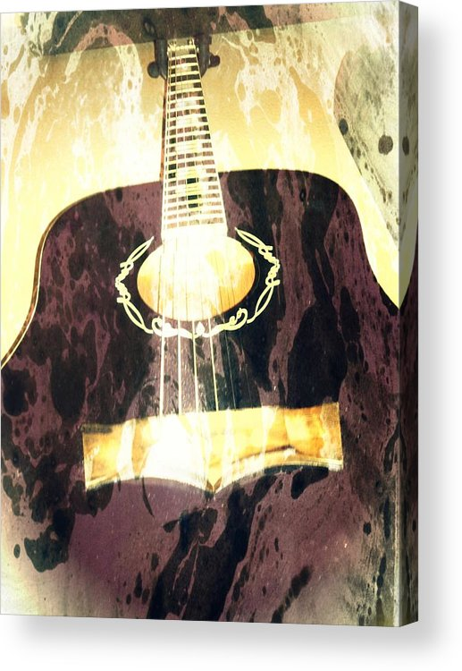 Guitar Acrylic Print featuring the photograph Acoustic Guitar - In The Studio by Brian Howard