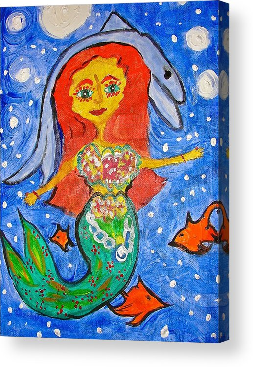 Mermaid Acrylic Print featuring the painting Alexandra's Mermaid Swims With The Dolphins by Marian Griffin