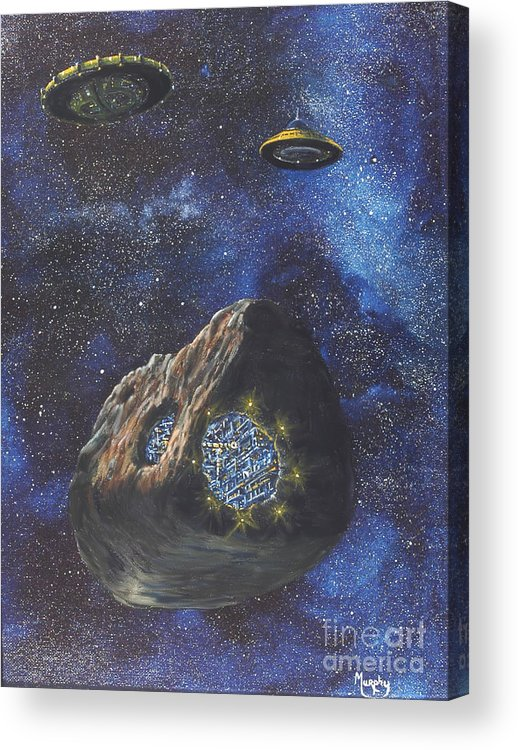Painting Acrylic Print featuring the painting Alien Space Factory by Murphy Elliott