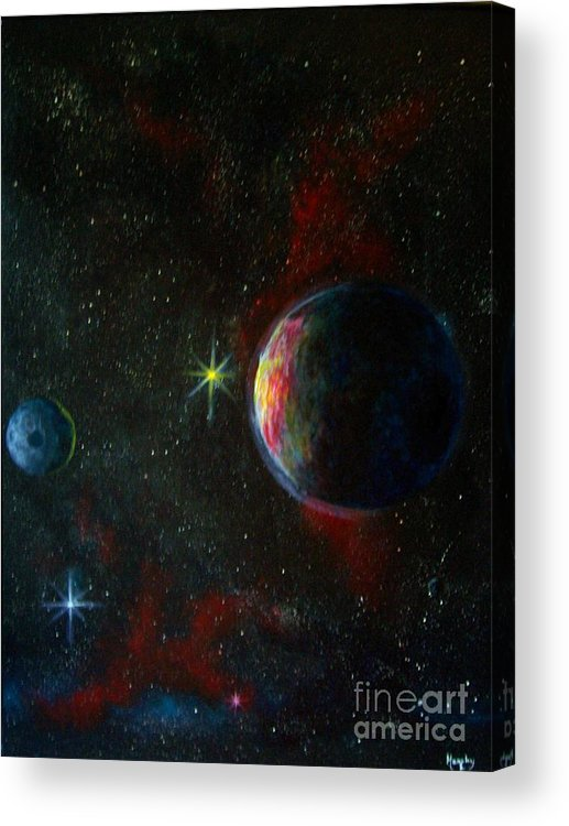 Cosmos Acrylic Print featuring the painting Alien Worlds by Murphy Elliott