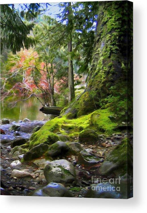 Sooke Acrylic Print featuring the digital art Along Sooke River by Ty Korte