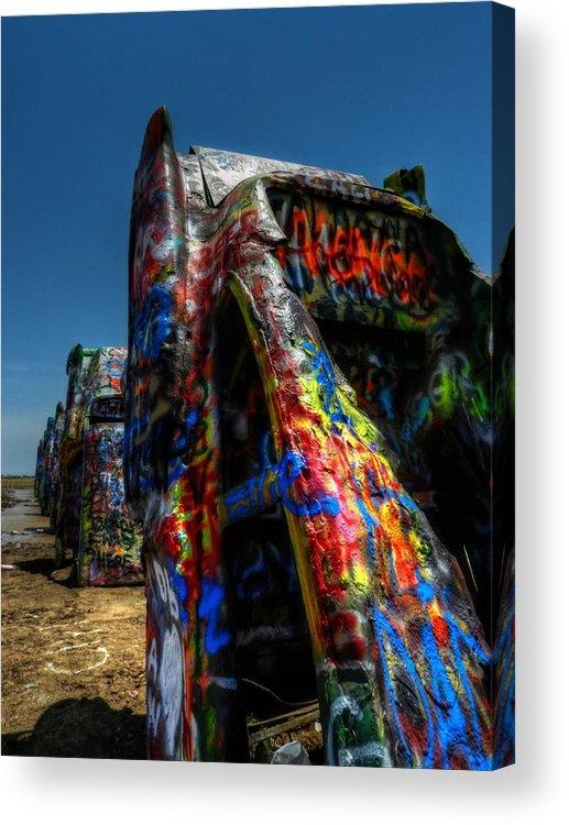 Amarillo Texas Acrylic Print featuring the photograph Amarillo - Cadillac Ranch 006 by Lance Vaughn