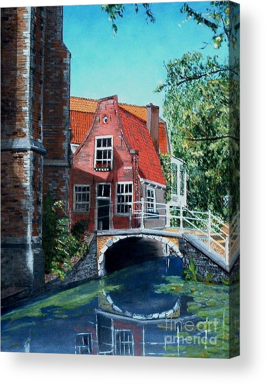 Dutch Acrylic Print featuring the painting Ancient Delft by Jan Bronkhorst