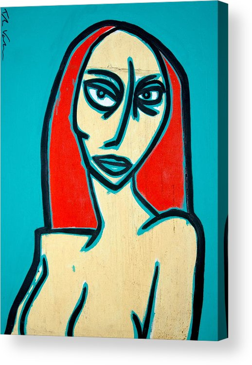 Oil Acrylic Print featuring the painting Angry Jen by Thomas Valentine