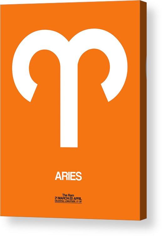 Aries Acrylic Print featuring the digital art Aries Zodiac Sign White On Orange by Naxart Studio