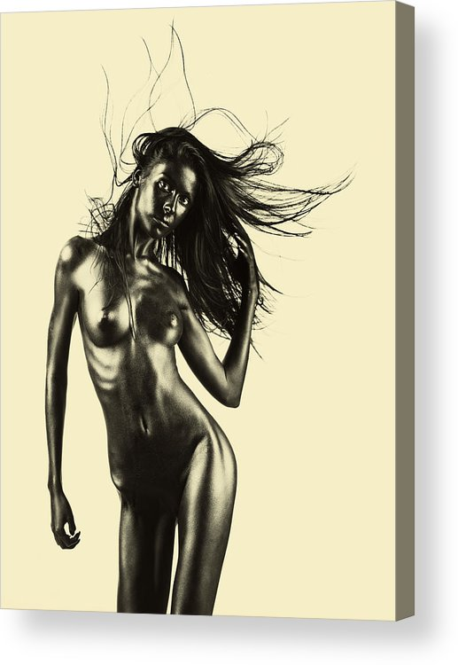 Beige Acrylic Print featuring the pyrography Artistic Nude Of Young Woman Beige Background by Dan Comaniciu