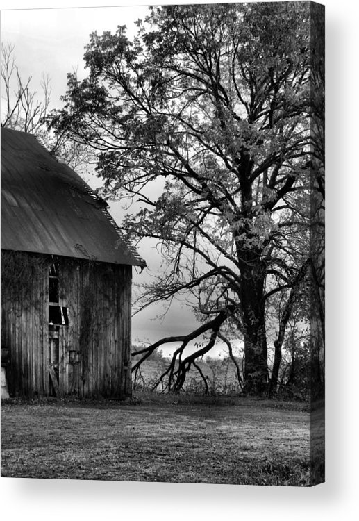 Barn Acrylic Print featuring the photograph At The Barn In Bw by Julie Dant