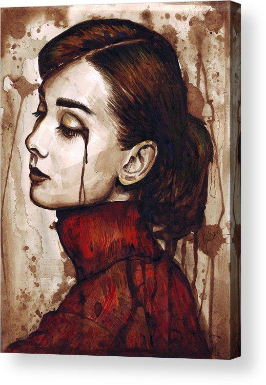 Audrey Hepburn Acrylic Print featuring the painting Audrey Hepburn - Quiet Sadness by Olga Shvartsur