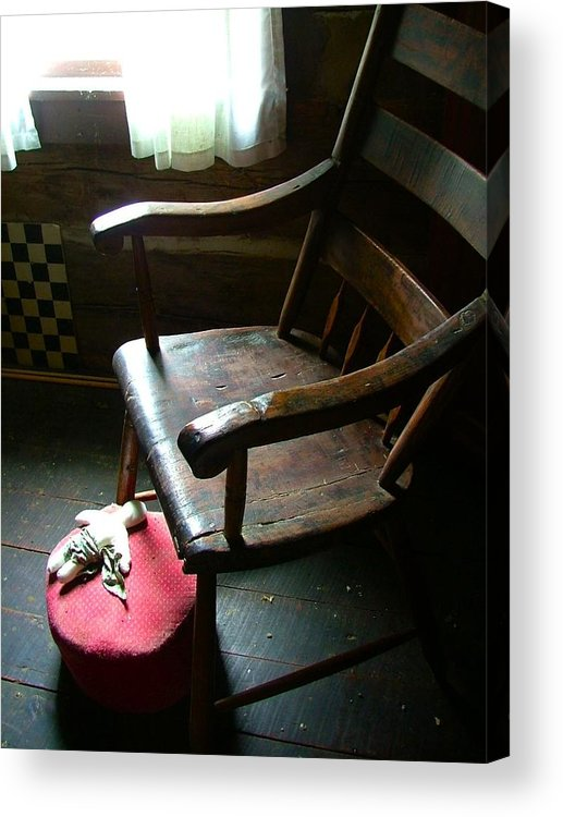 Wooden Chair Acrylic Print featuring the photograph Aunt Tillie's Sewing Chair by Julie Dant