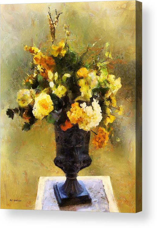 Flowers Acrylic Print featuring the painting Autumn Antiqua by RC DeWinter