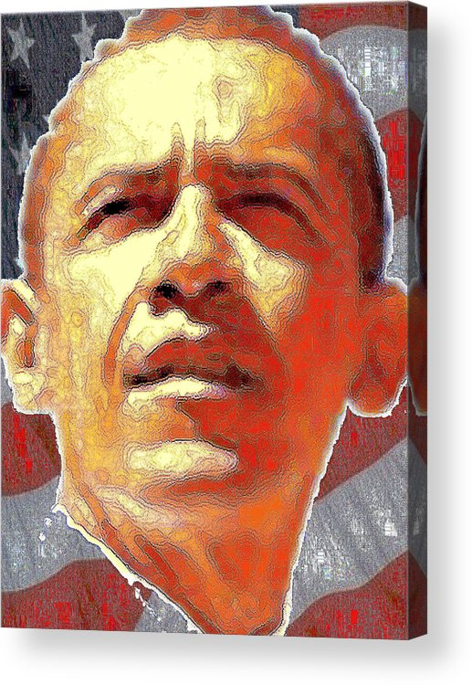 Obama Acrylic Print featuring the digital art Barack Obama American President - Red White Blue by Peter Potter