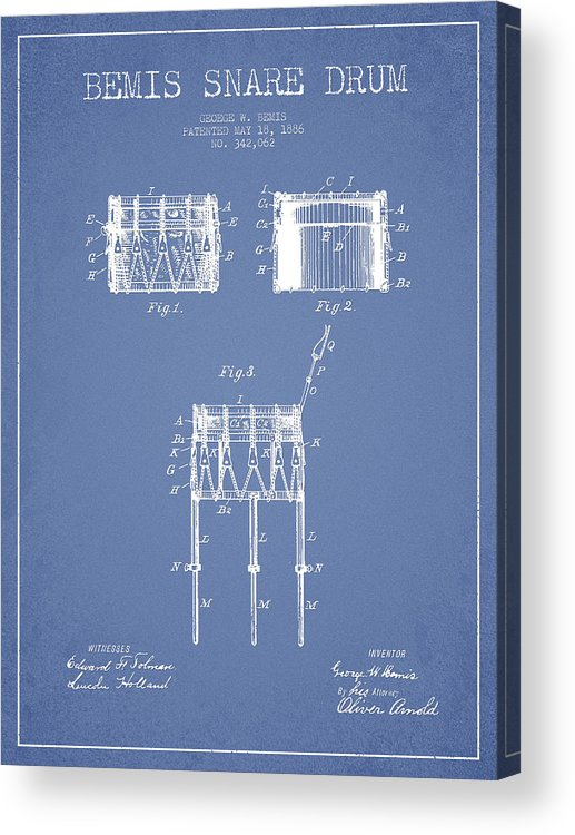 Snare Drum Acrylic Print featuring the digital art Bemis Snare Drum Patent Drawing From 1886 - Light Blue by Aged Pixel