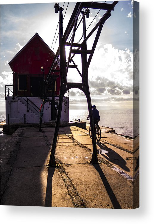 Grand Haven Acrylic Print featuring the photograph Bicycle On Grand Haven Pier by Kirsten Dykstra