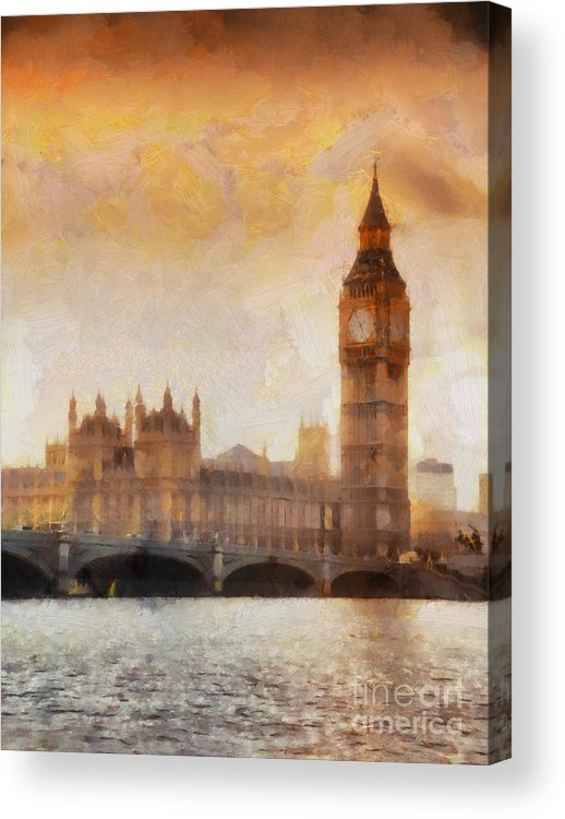 London Acrylic Print featuring the painting Big Ben At Dusk by Pixel Chimp