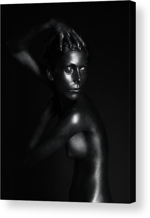 Young Acrylic Print featuring the pyrography Black Statue by Dan Comaniciu