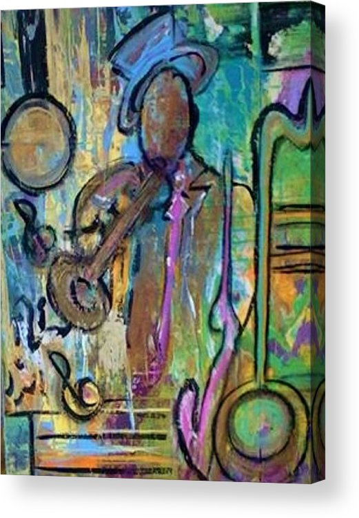 Jazz Acrylic Print featuring the painting Blues Jazz Club Series by Kelly Turner