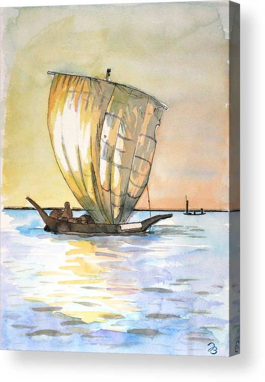 Boat Acrylic Print featuring the painting Boso Sailing Boat by Jutta B