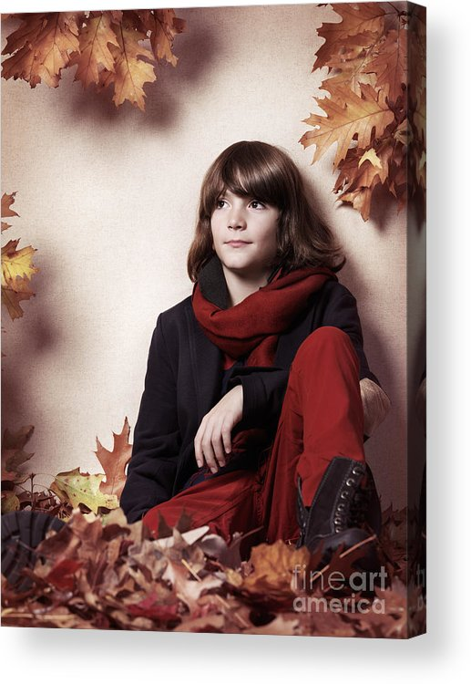Boy Acrylic Print featuring the photograph Boy Sitting On Autumn Leaves Artistic Portrait by Oleksiy Maksymenko