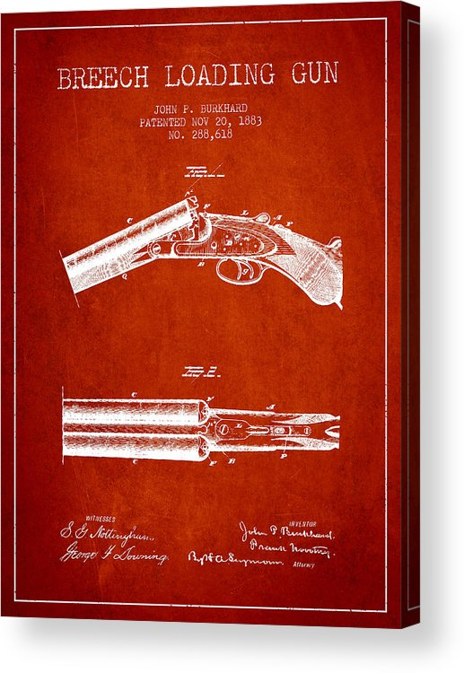 Rifle Patent Acrylic Print featuring the digital art Breech Loading Gun Patent Drawing From 1883 - Red by Aged Pixel