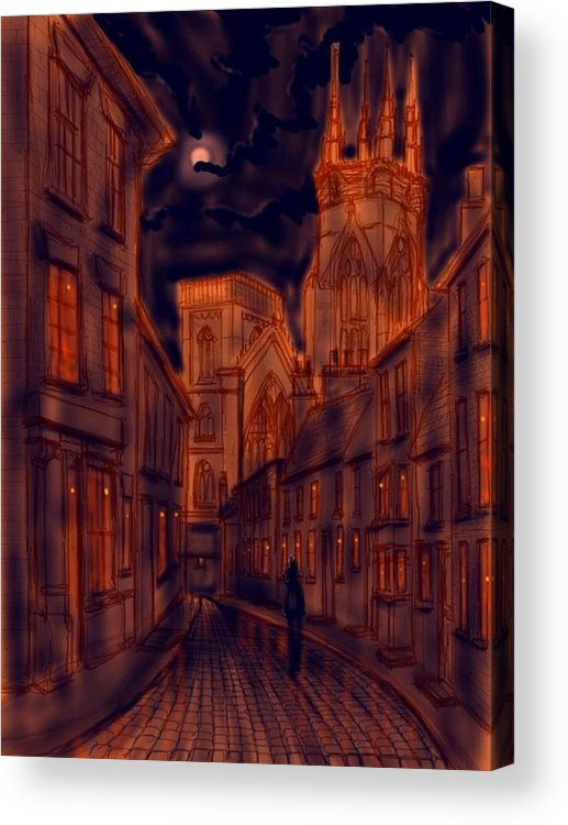 Ipad Acrylic Print featuring the painting Bridlington Priory In Orange And Blue by Glenn Marshall