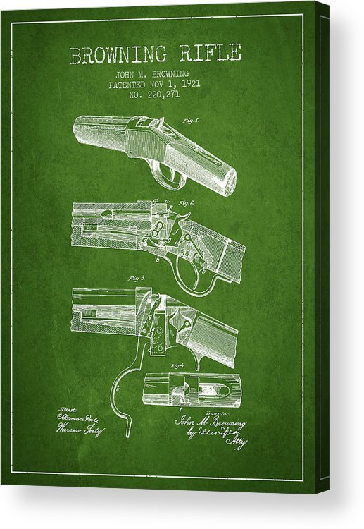 Rifle Patent Acrylic Print featuring the digital art Browning Rifle Patent Drawing From 1921 - Green by Aged Pixel