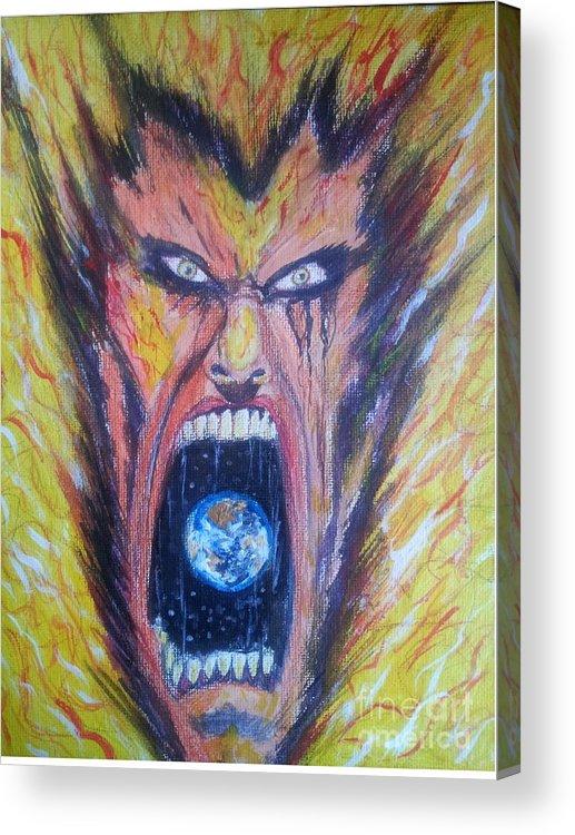 Man Face World Fire Scream Acrylic Print featuring the painting Burn by Mark Bradley